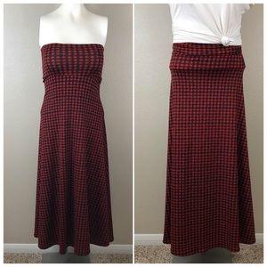 Lularoe Checkered Casual Pull On Summer Maxi Skirt